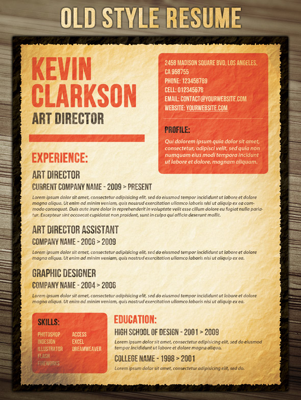 Resume in Old Style
