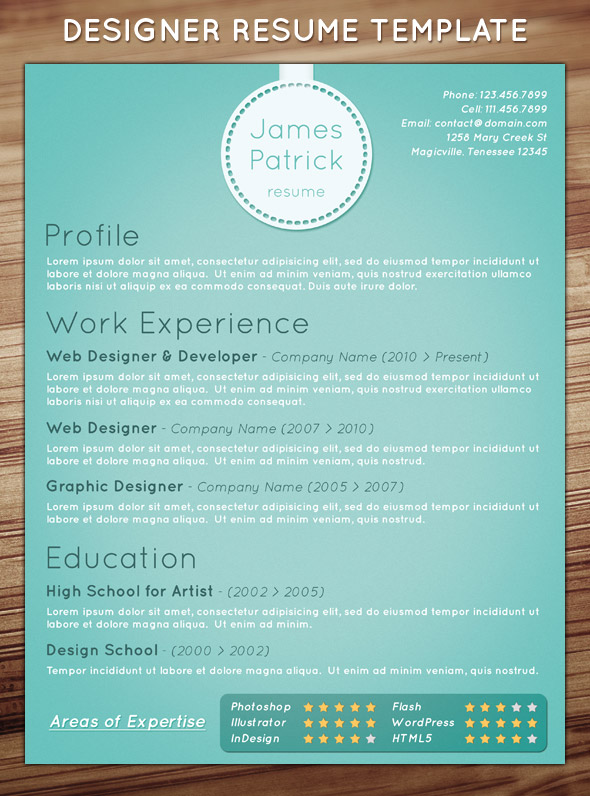 game designer resume template
