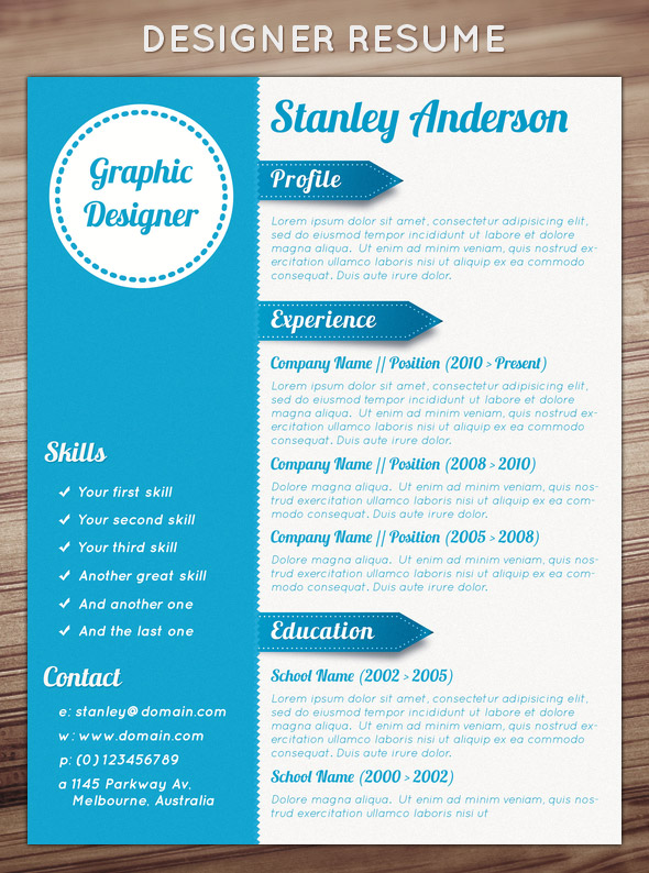 template cv design Designer Resume