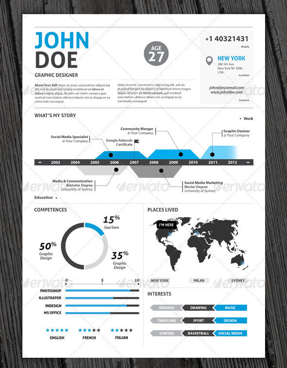 clean infographic resume vol 2 cover letter - Contemporary Resume Templates