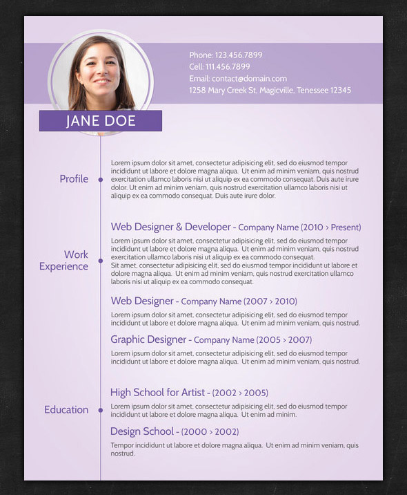 CV Templates Donwload Resume  Resume With Photo Template