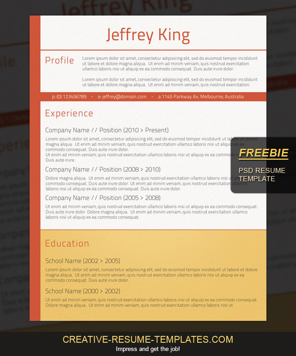 download psd resume