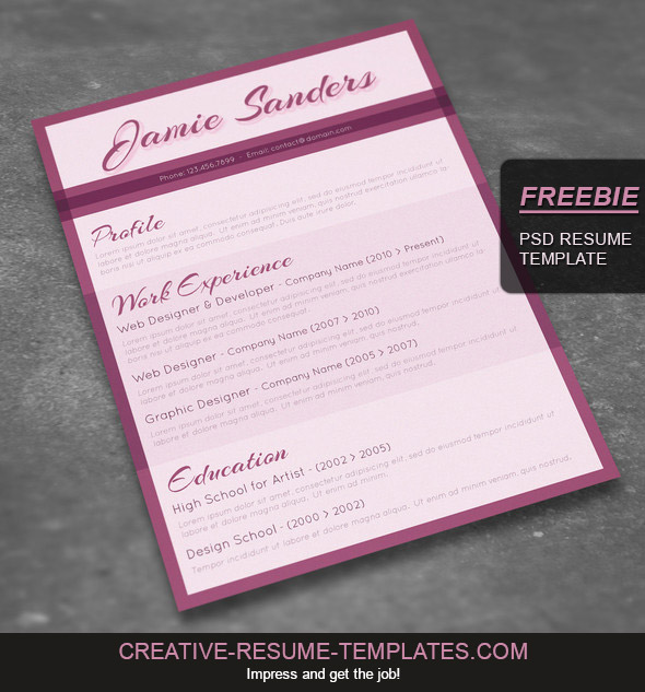 freebie beautiful resume template to download
