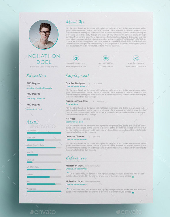 modern and clean cv donwload resume