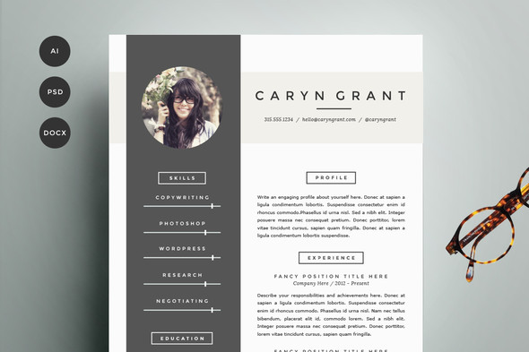 4 pack resume set donwload resume - Creative Resume Design Templates